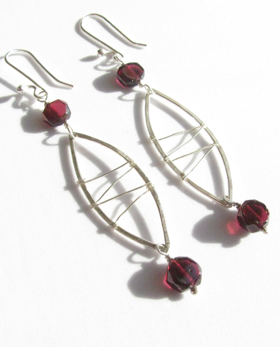 Garnet and Sterling Silver Stitched Earrings