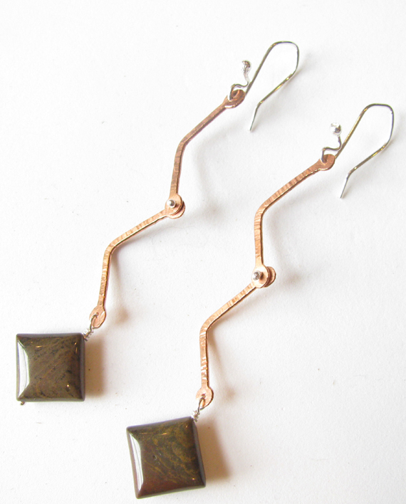 Grass Jasper, Copper and Sterling Silver Zig Zag Hinged Earrings
