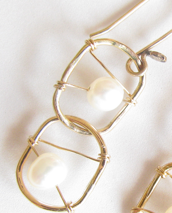 White Pearl and Gold-Filled Double Stitched Earrings
