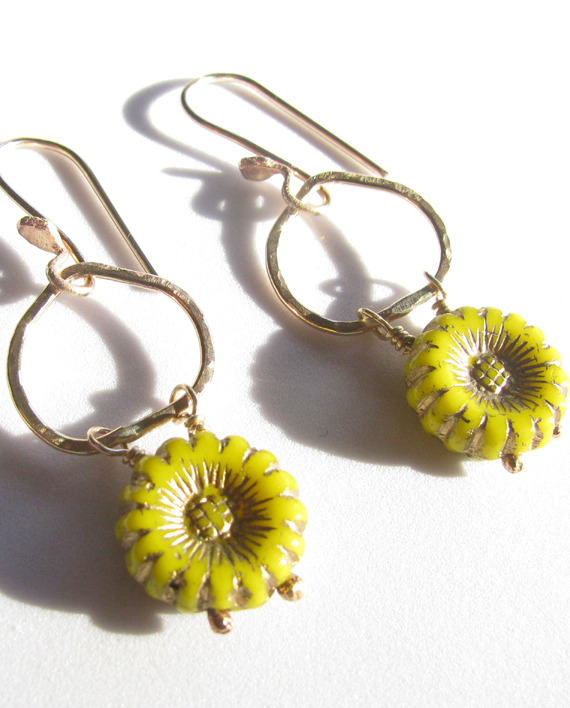Vintage Yellow Glass Flower and Gold-Filled Earrings