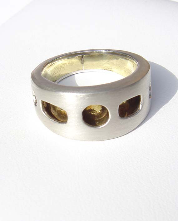 "Brushed Sterling Silver and Textured Brass Tapered ""Hollow"" Ring"