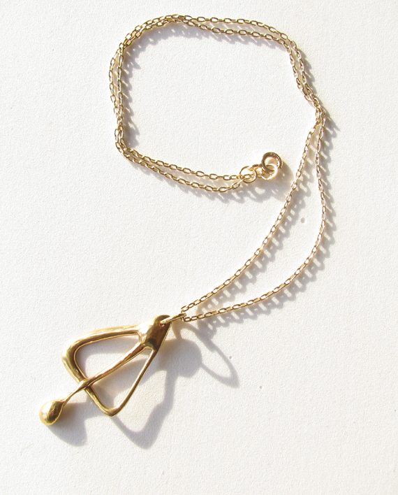 Small Abstract White Bronze & Gold-Filled Necklace