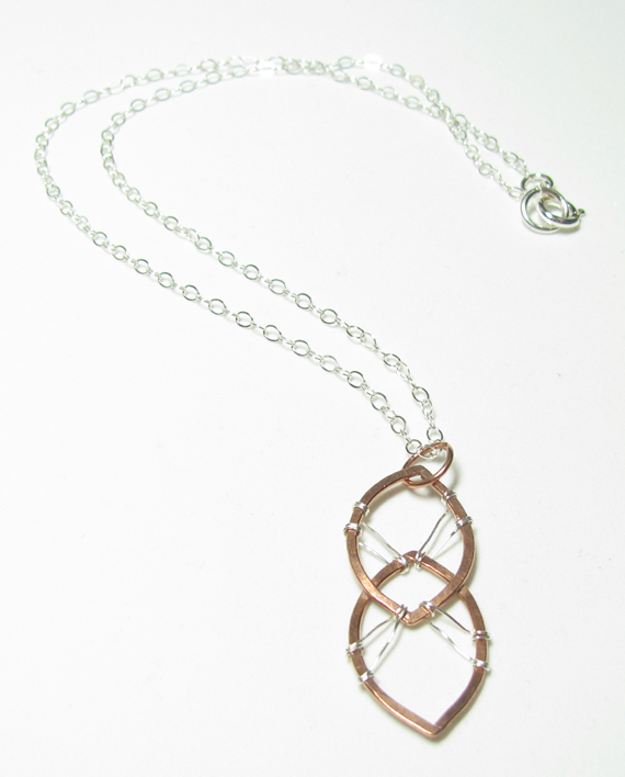 Copper and Sterling Silver Stitched Necklace