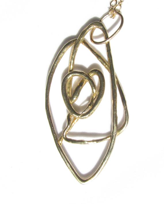 Abstract Red Bronze Pretzel Necklace
