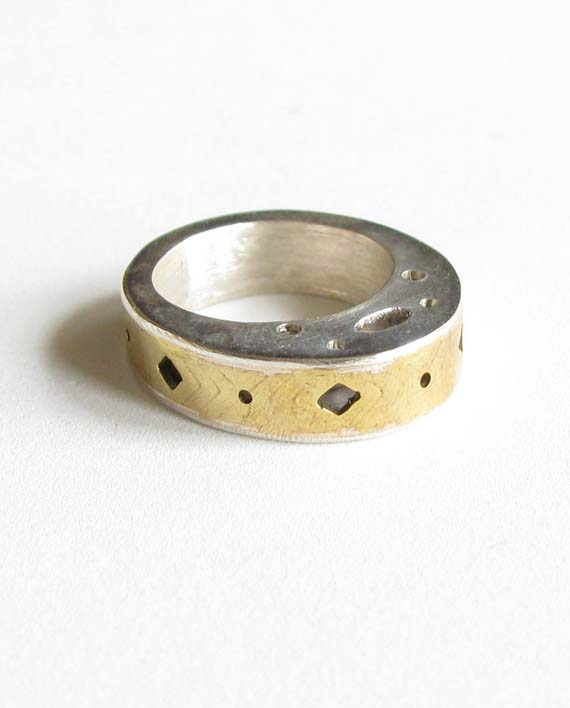 """Sterling Silver and Brass """"Hollow"""" Ring"""