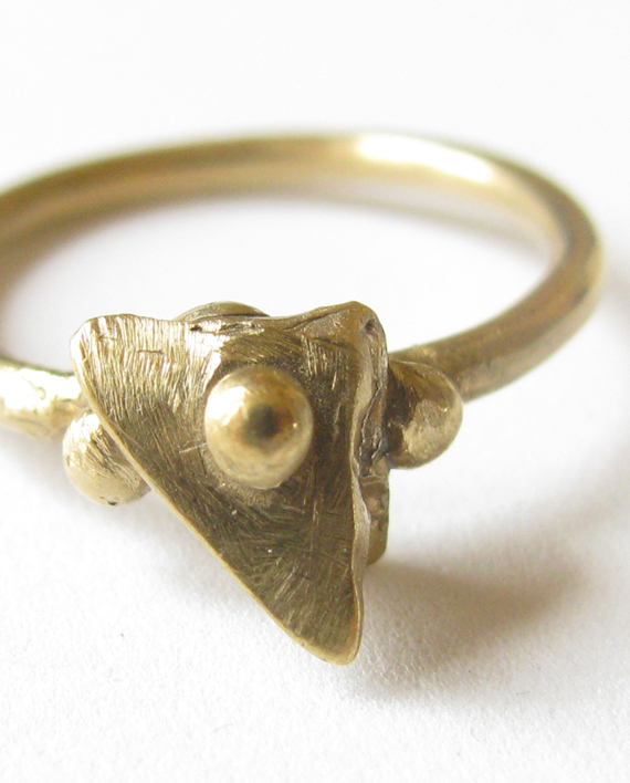 "White Bronze ""Triangle"" Ring, Size 8"