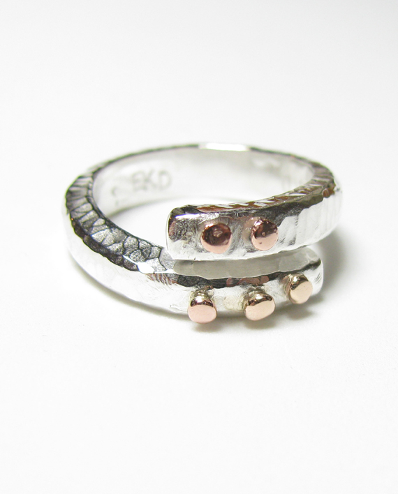 Sterling Silver and 14k Rose Gold Wrap Ring, Size 7.5