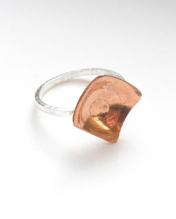 Etched Copper and Sterling Silver Ring