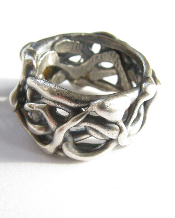 Sterling Silver Heavy Abstract Ring, Size 9