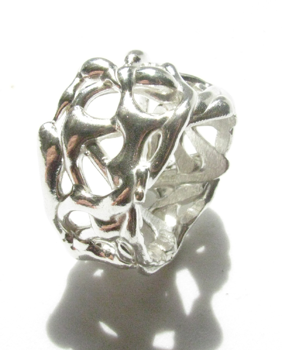 Sterling Silver Abstract Thick Ring, Size 9.5