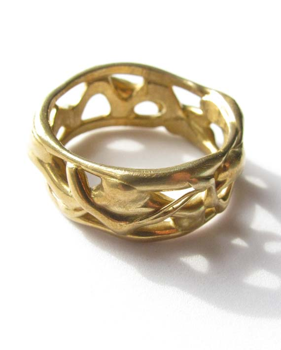 """Bronze Abstract """"Vine"""" Band Ring"""