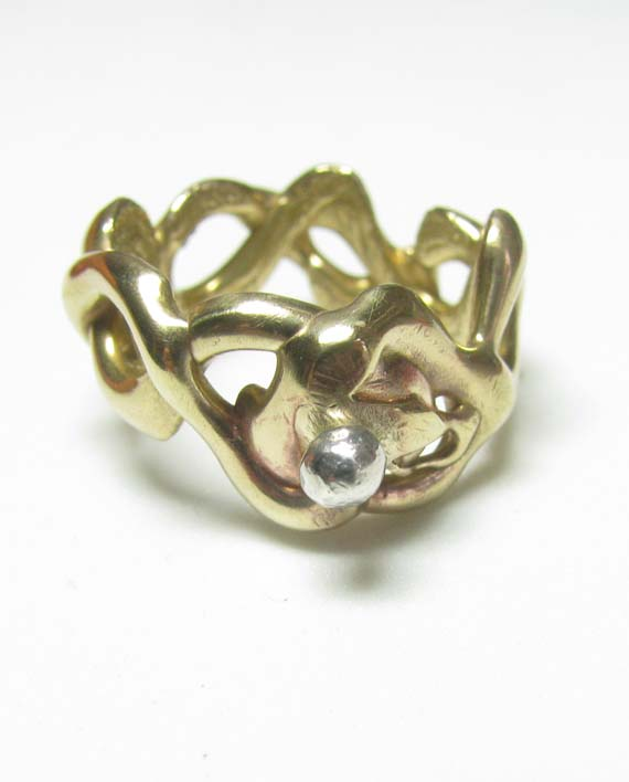 Bronze Abstract Vine Ring with Sterling Silver Ball