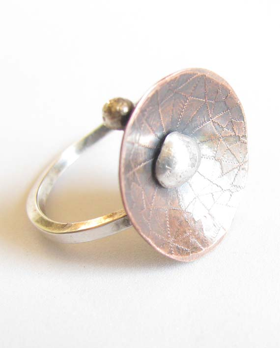 Etched and Antiqued Copper and Sterling Silver Ring