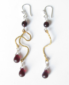 Czechoslovakian Glass, Brass and Sterling Silver Asymmetrical Earrings