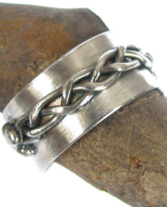 Antiqued Sterling Silver 4 Strand Braid Band Ring, Size 10.5