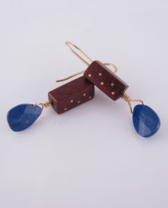 Bloodwood, Gold-Filled and Lapis Lazuli Inlay Earrings
