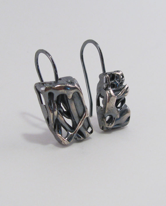 Abstract Antiqued Layered Sterling Silver Cast Drop Earrings – Rectangles