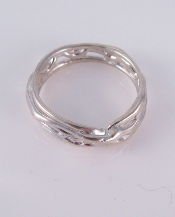 Abstract Sterling Silver Vine Ring, Size 12