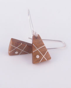 Canarywood and Silver Inlay Triangle Earrings