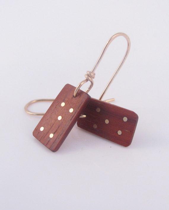 African Padauk and Gold-Filled Inlay Dice Earrings