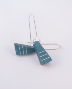 Teal Curly Maple and Silver Inlay 3-Line Triangle Earrings