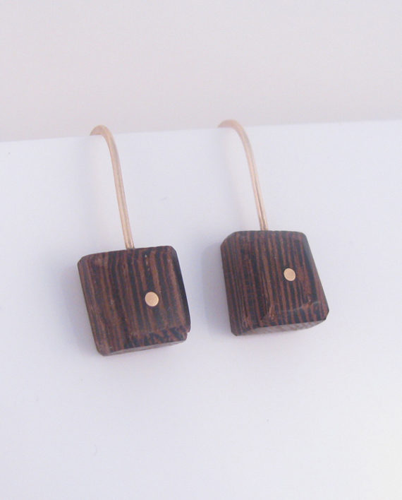 Wenge Wood and Gold-Filled Inlay Small Square Dot Earrings
