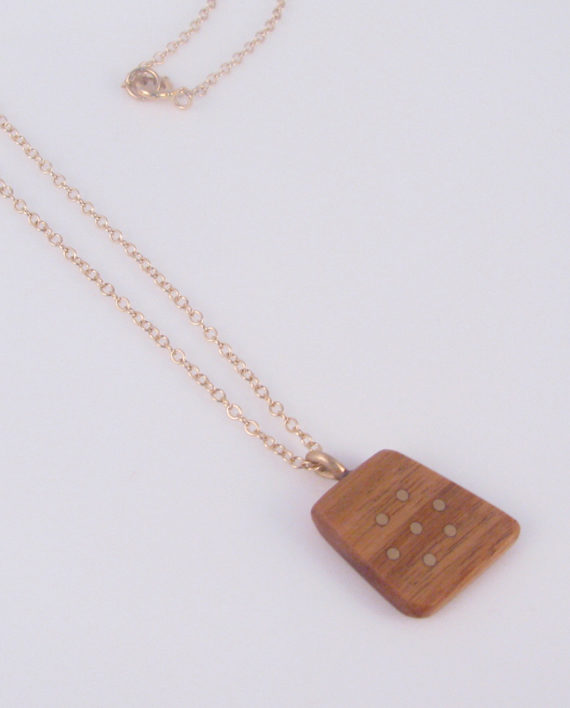 Canarywood and Gold-Filled Inlay Flower Dot Necklace