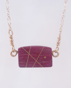 Purpleheart and Gold-Filled Inlay Curved Square Necklace
