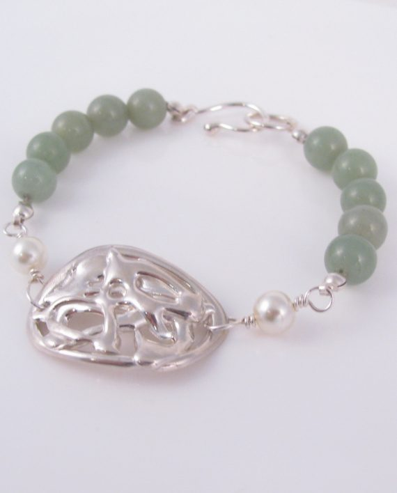 Abstract Cast Sterling Silver, Aventurine and Glass Pearl Bracelet