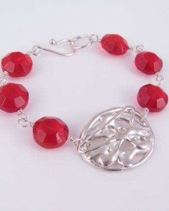 Abstract Cast Sterling Silver and Red Vintage Glass Bracelet