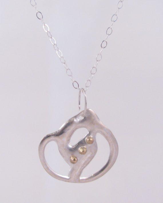 Abstract Cast Sterling Silver and 14k Gold Triple Dot Necklace