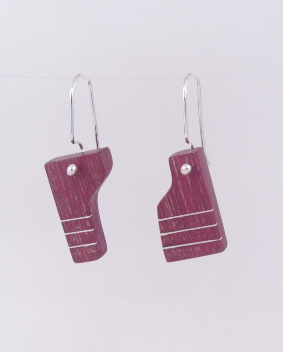 """Purpleheart and Silver Inlay """"Puzzle"""" Earrings"""