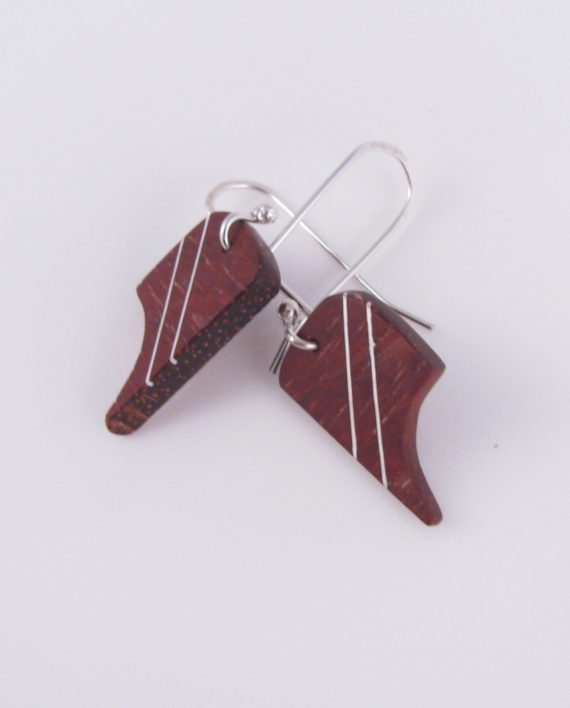 Bloodwood and Silver Pointy Curved Earrings