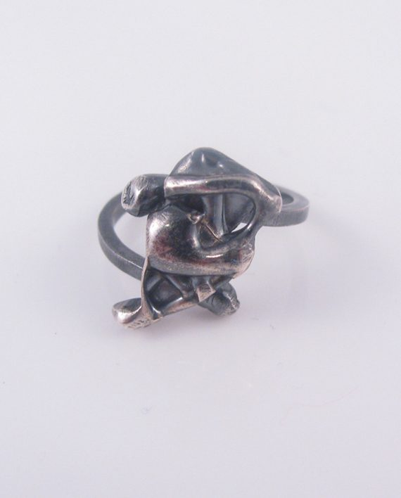 Antiqued Sterling Silver Abstract Offset Teardrop Vine Ring with Wave Band, Size 6