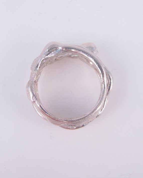 Abstract Sterling Silver Vine Ring, Size 7