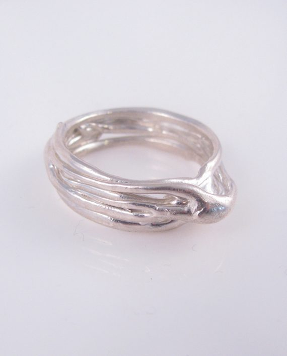 Abstract Sterling Silver Vine Ring, Size 12.5