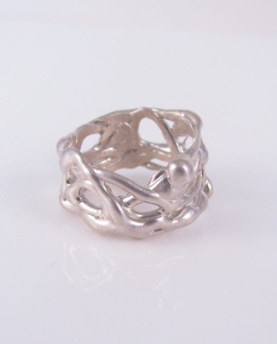 Abstract Sterling Silver Nubby Vine Ring, Size 10
