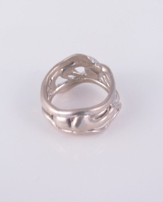 Abstract Sterling Silver Wavy Vine Ring, Size 10